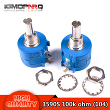 5pcs/lot  3590S 100K ohm Precision Multiturn Potentiometer 10 Ring Adjustable Resistor 3590S-2-104L