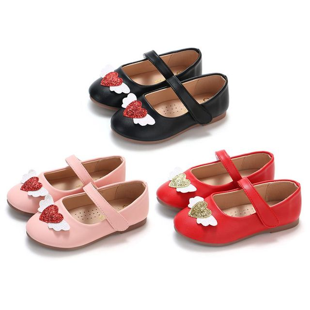 ff40737a8499d0 Children s Shoes Girls Flats Heart Wing Anti-Slip Princess Shoes Bright Petals  Shoes Soft Pretty