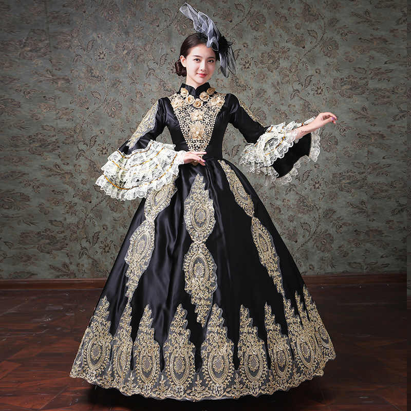 242f5c4aff4 ... Black Long Women s Ball Gown Gothic Victorian Dress Period Rococo Belle  Dresses Plus Size ...