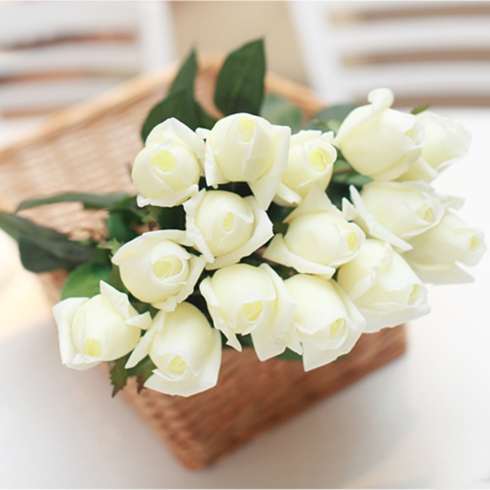 Aliexpress Buy 10pcslot Edge Curling Artificial White Rose