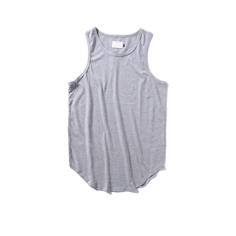 61883e5c98d7b6 Solid Color Curved Hem Longline Tank Tops Men 2017Summer Blank Extended Hip  Hop Tank Tops Elongated Tank Top Justin Bieber Cloth