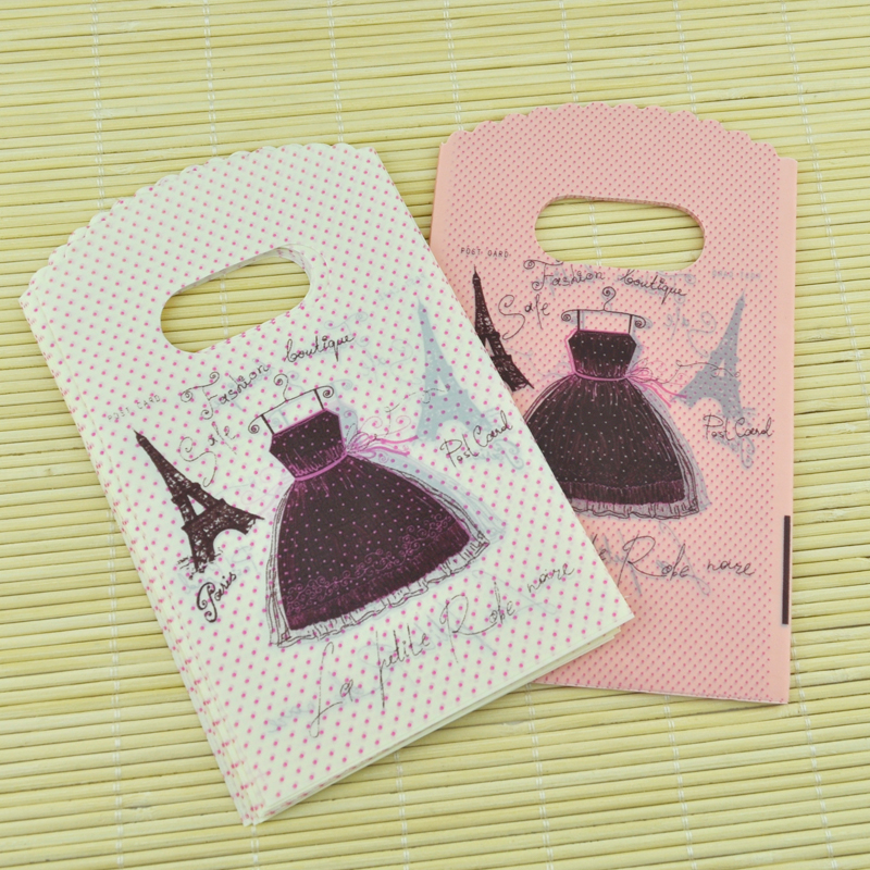 Wholesale 50pcs/lot 9x15cm Tower Dress Pattern Small Plastic Bag Fashion Charms Jewelry Packaging Bag Cute Candy Gift Bags