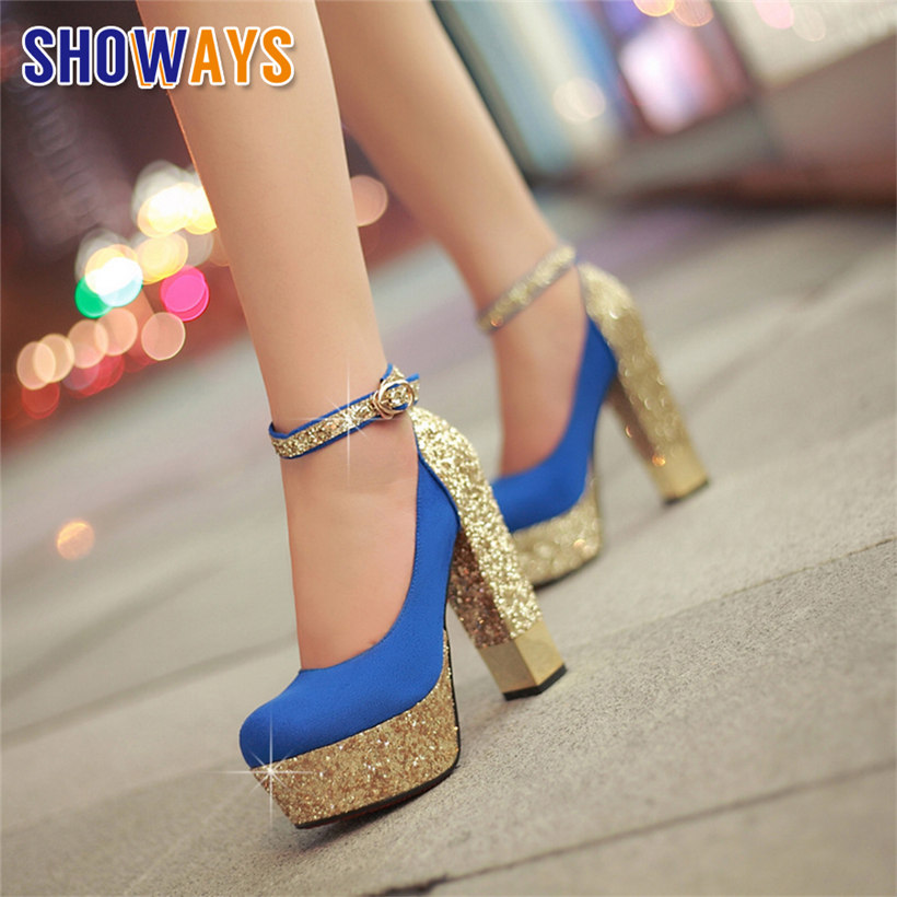 Quality Women Platform Pumps Flock Sequined Cloth Red Bottom Super High Heels Bling Office Wedding Party