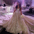 2016 Arabia Saudita Robe De Mariage Vestido De Noiva Tren Real Apliques Una Línea de Vestidos de Novia Elegante Vestido de Boda Que Rebordea