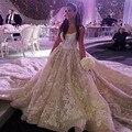2016 Robe De Mariage Vestido De Noiva Arábia Saudita Royal Train Applique Uma Linha de Vestidos de Casamento Gracioso Vestido de Noiva Beading