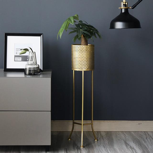 Gold Floor Vase Centerpiece Standing Shelf Flower Vase Lobby Metal