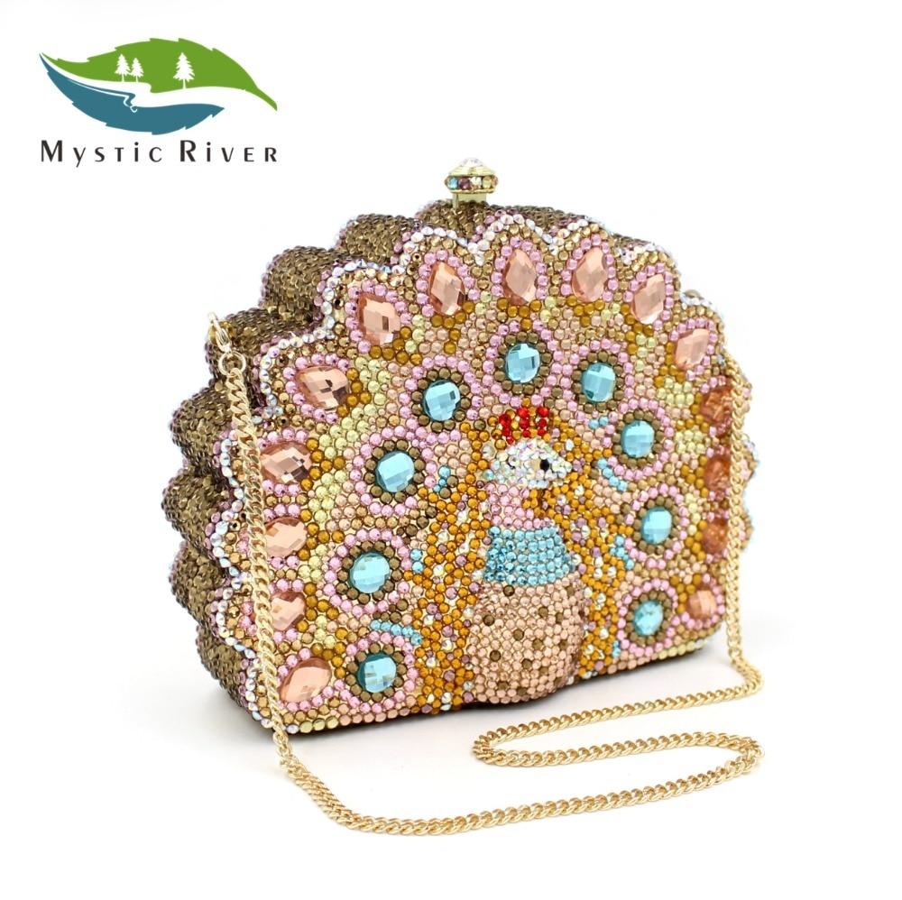Mystic River Mujeres Peacock Forma Señor Moda Partido Embragues Ladies Crystal B