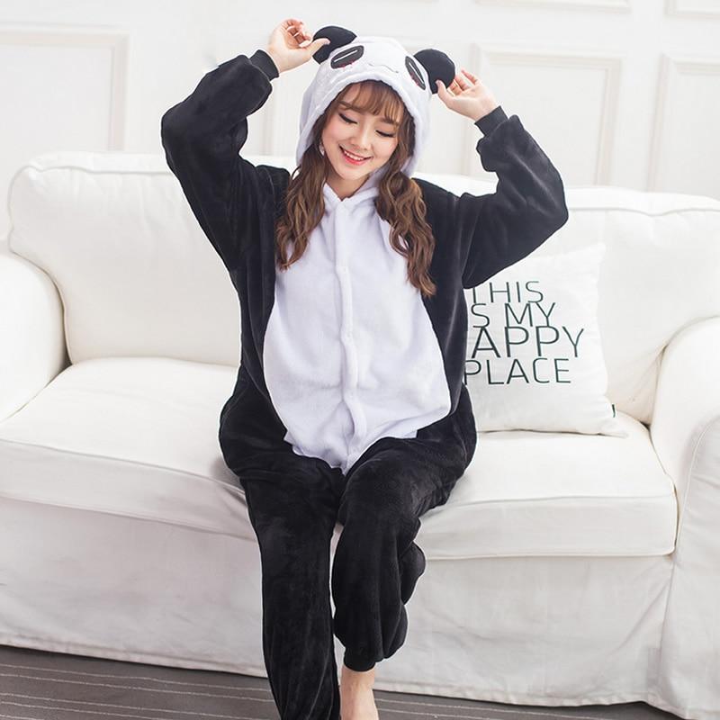 2019 Halloween Adult Anime   Pajamas     Sets   Cartoon Sleepwear Women   Pajamas   Flannel Animal Panda Unicorn   Pajamas   Winter Warm Hooded