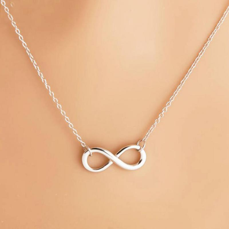 Simple Design Necklace For Women Silver Infinity Figure 8 Necklace Pendant Hammered Link Necklaces Collier Gift Jewelry Bijoux