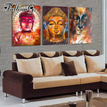 FULLCANG diy 3pcs/set diamond painting buddha icon triptych mosaic cross stitch 5d embroidery kits full square drill G1017