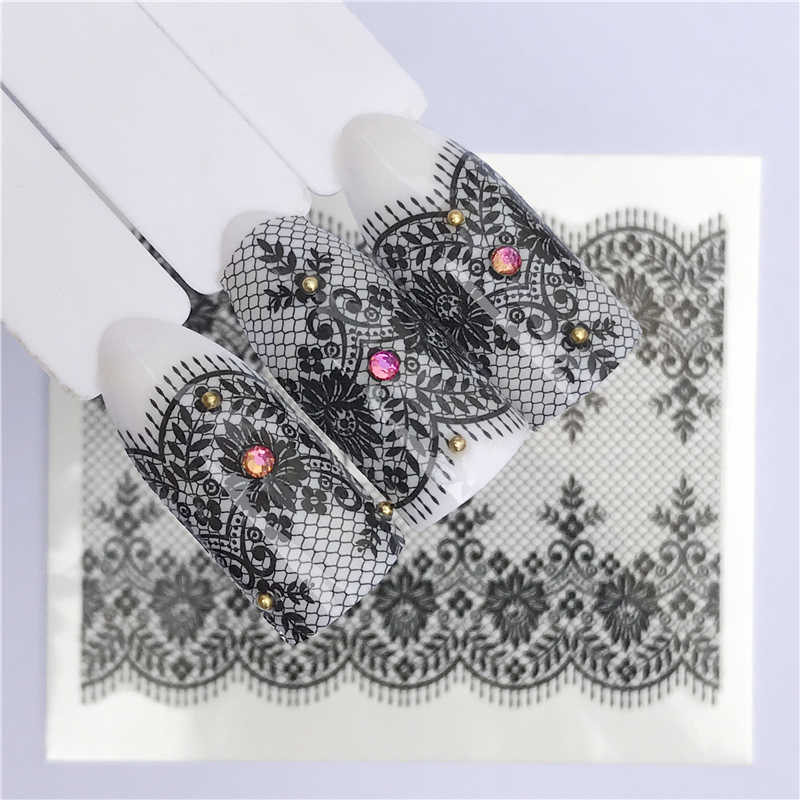 FWC 25 Styles New Black Flower Lace Designs Nail Art Water Decals Transfer Nail Stickers Decoration Elegance Manicure Tool