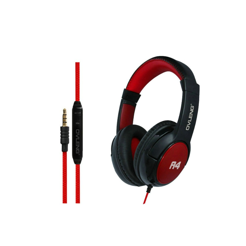 OVLENG OV-A4 HiFi Deep Bass Stereo Wired Headphone Music Dynamic Headset With Microphone 3.5mm Jack For Smart Phone PC Ipad MP3 ovleng wireless bluetooth 4 0 headphones foldbale stereo headset with microphone ovleng v8 3 for phone handfree calls music
