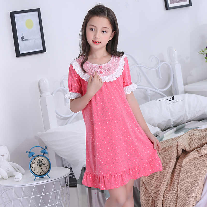 bafe3771cffb2 2019 Girls princess night gown Summer short sleeve Nightgown kids lovely  nightdress cute cotton child baby sleeping dress 4-12y
