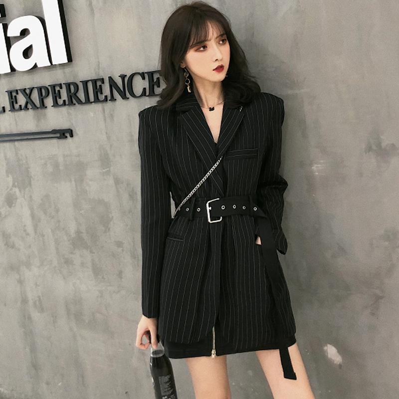 Fashion Striped Sashes Female Blazer Notched Full Sleeve Black Woemn Jacket Autumn Loose Suit Streetwear 2018 High Quality