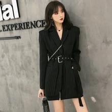 Fashion Striped Sashes Female Blazer Notched Full Sleeve Bla