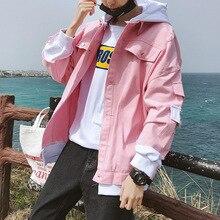 Джинсовая куртка Мужская корейский стиль Уличная одежда хип-хоп Повседневная толстовка с капюшоном в