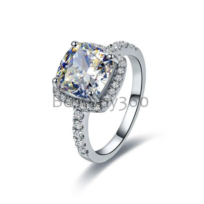 3 Carat Cushion Cut Engagement wedding square Ring bands for women bridal Set (BB)