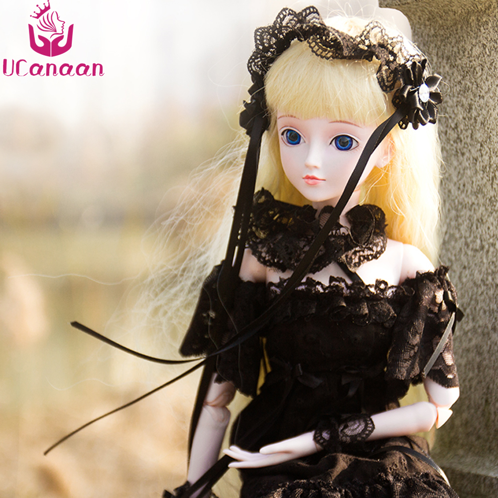 Ucanaan 1/3 Large BJD/SD Cute Lolita Doll Design Dress Up 19 Moveable Joint Body High Quality Toy Fashion Black Dress Make Up uncle 1 3 1 4 1 6 doll accessories for bjd sd bjd eyelashes for doll 1 pair tx 03