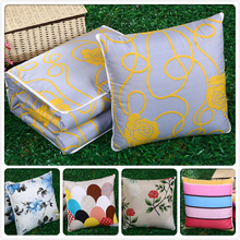 Gray Flower Stripe Creative Cushion Blanket Multifunction 2 in 1 Sofa Car Decorative Back Lumbar Throw Pillows Lounge Chair Pads