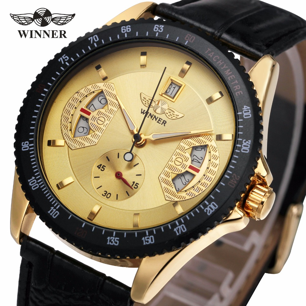 2017 WINNER Men Fashion Mechanical Wristwatch Leather Strap Sub Dial Date Display Tachometer Top Luxury Design Watch + GIFT BOX winner men s automatic mechanical watch stainless steel strap date calendar sub dial supersize new fashion sports design