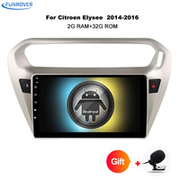 Funrover 9 Android 8.0 Car radio Player gps navi for Citroen Elysee/ Peugeot 301 2014 2017 4G 2GB+32GB canbus bluetooth No dvd