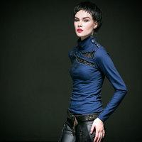 Punk rave gothique Fashion Pretty Red Coffee Blue Colours Novelty Women Shirt T shirt harajuku gothic punk top T362