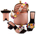 Newest Style Fashion Party Shoes and Bags To Match Mint Green African Shoe and Bag Set Italian Shoes and Bag Set with Appliques - 4