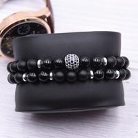 2pc/sets8mm Natural stone Bracelet men Micro Pave CZ 10mm Disco Ball Charms Bracelets for women Men jewelry viking bijoux 1