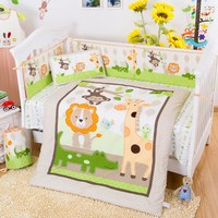 100%Cotton Baby Bedding Sets Cute Cartoon Crib Bumper in a Crib For Babies Bumpers+Duvet+Pillow+Sheet 7pcs/sets