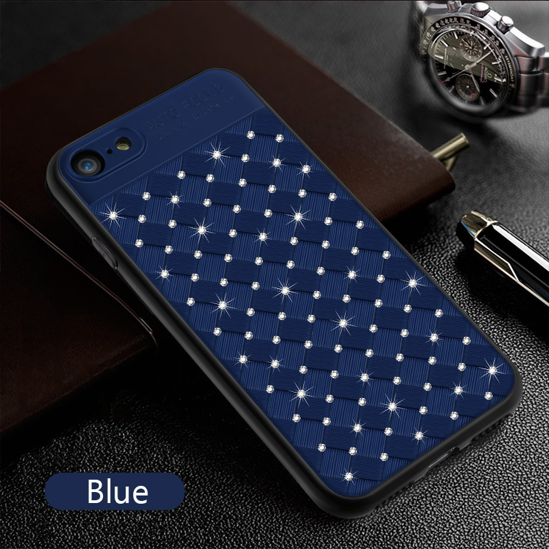 KIP71246L_1_Rhinestone Glitter Case for iPhone 6S 7 8 Plus XS XR XS Max Soft TPU Diamonds Weaving Protection Back Cover