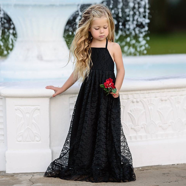 fe099c9c4b8 2018 Kids Girls Silk Embroidery Dresses Summer Children Shoulder-straps Toddler  Baby Black Sleeveless Princess