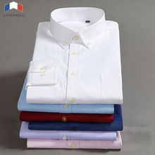 LANGMENG 2018 Brand Plus Size 7XL Men Dress Shirts Mens Slim Fit Casual Shirt Twill Solid Color Formal Social Easy Care