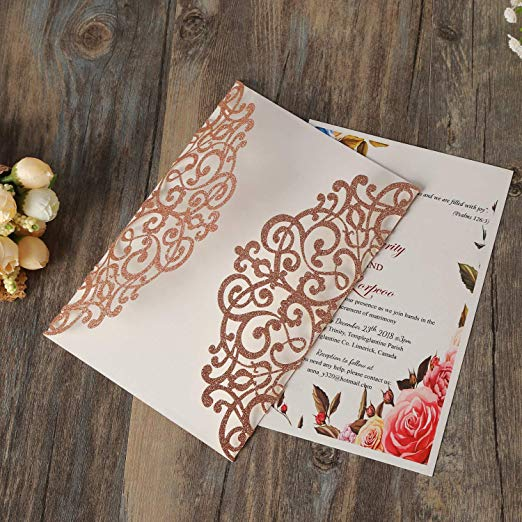 Gold Pocket Laser Cut Wedding Invitation,Glitter Wedding Invite,Pocket Laser Cut Invitation Cards for Engagement Bridal Shower Birthday Party Decoratons,Gold 30pcs Silver