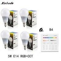 5W E14 RGB+CCT Mi Light Led Lamp Led bulb+B4(3V) Panel Remote Led Spotlight light Dimmable Led light Free shipping