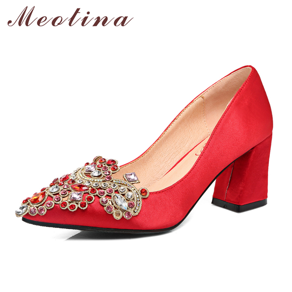 Meotina Women Shoes High Heels Ladies Pumps Crystal Block Heel Wedding Shoes Red Pointed Toe Bridal Shoes Female Big Size 33-43 Meotina Women Shoes High Heels Ladies Pumps Crystal Block Heel Wedding Shoes Red Pointed Toe Bridal Shoes Female Big Size 33-43