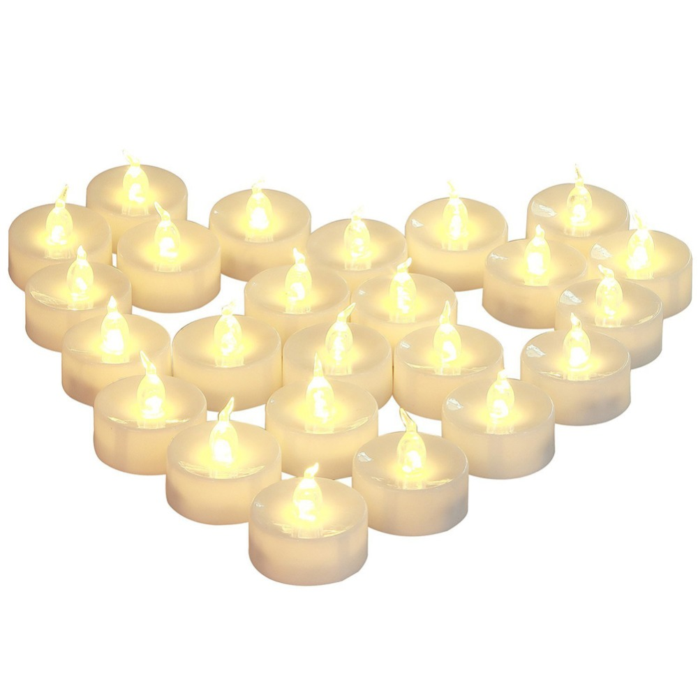 12 or 24 pieces flameless <font><b>led</b></font> bougie tea lights battery lampas con pilas yellow tea cirios electricos for christmas decoration image