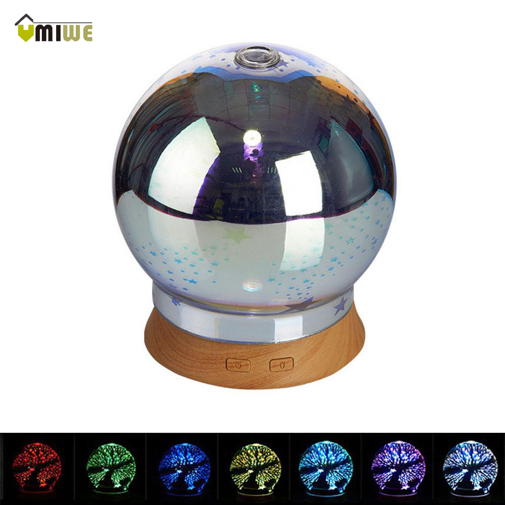 100ml 3D Glass Light Essential Oil Aroma Diffuser Wood graid Base Ultra-quiet Portable Ultrasonic Desk Humidifier Aromatherapy hot sale humidifier aromatherapy essential oil 100 240v 100ml water capacity 20 30 square meters ultrasonic 12w 13 13 9 5cm