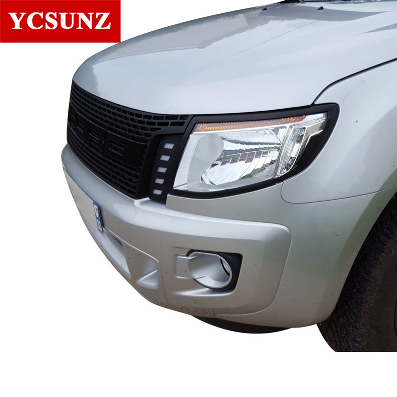 Head Lights Covers Lamp Trim For Ford Ranger 2012 2013 2014 T6