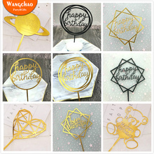 Creative Acrylic Cake Topper Happy Birthday Cake Toppers Baby Shower Party Cupcake Topper Kids Gifts and Favors Cake Decorations 10pcs lot love heart balloon cake topper happy birthday party cake decoration kids beautiful favors and gifts baby shower decora