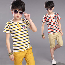 2019 New Summer Children Set Cotton Baby Boys Girls Short Sleeve Striped Polo T-shirt Shorts Set Kids Clothing Set 5 7 9 11 12 Y
