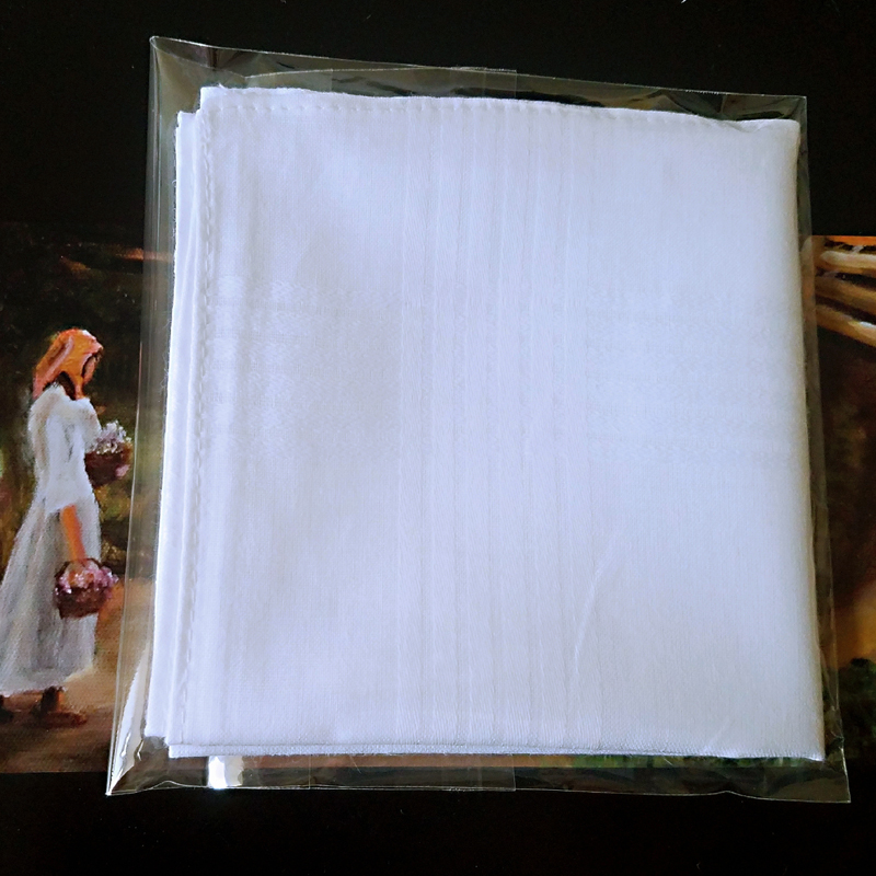 5 Pcs/lot 100% Cotton Solid White Men Handkerchief Export Item 40cm*40cm [Fast Delivery]