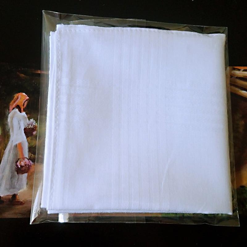 5 Pcs/lot 100% Cotton Solid White Men Handkerchief Export Item 40cm*40cm [Fast Delivery]