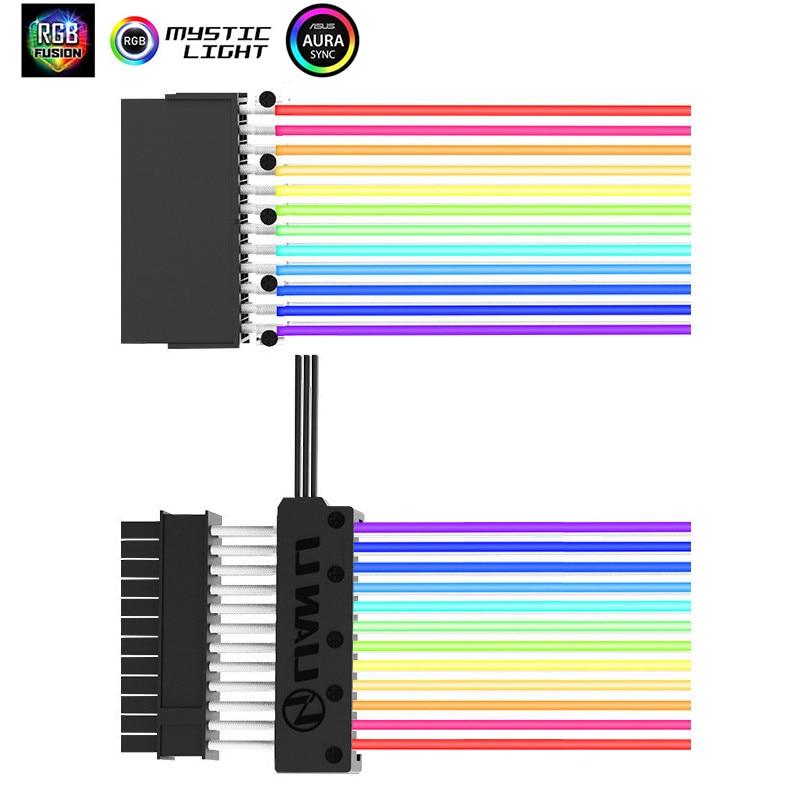 LIANLI Strimer-24/Strimer-8 24 broches néon ligne RGB D-RGB AURA SYNC câble PSU pour 24Pin à la carte mère/Dual-8Pin à la carte graphique