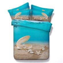 comforter bedding sets 3d beach starfish blue sea seashell duvet cover quilt queen size full king