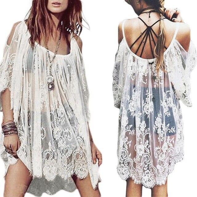 95845440b56f2d Vintage Boho Hippie Women s Floral Crochet Lace Party Short Mini Dress Tops