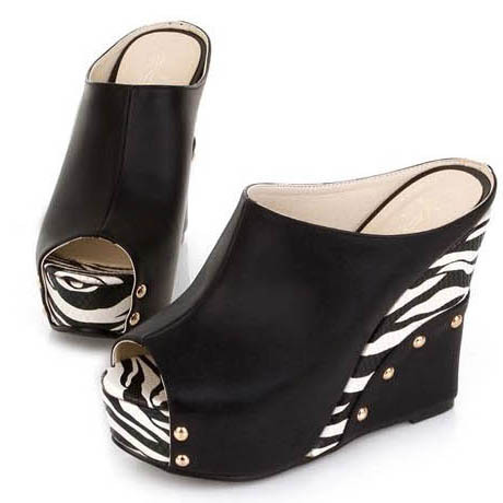 Лидер продаж женские босоножки на платформе-танкетке с открытым носком стильный принт зебры женские шлёпанцы на высоком каблуке женские повседневные шлепанцы без задника с открытыми пальцами туфли сезон лето - Цвет: black