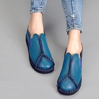 2017 Retro Women Shoes Flats Woman Genuine Leather Flat Shoes Fashion Hand Sewn Women Loafers Female