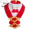 Moda de Boda Nigeriano Beads Africanos Joyería Conjunto Rojo Collar de Cristal Pendientes de Clip NC2103