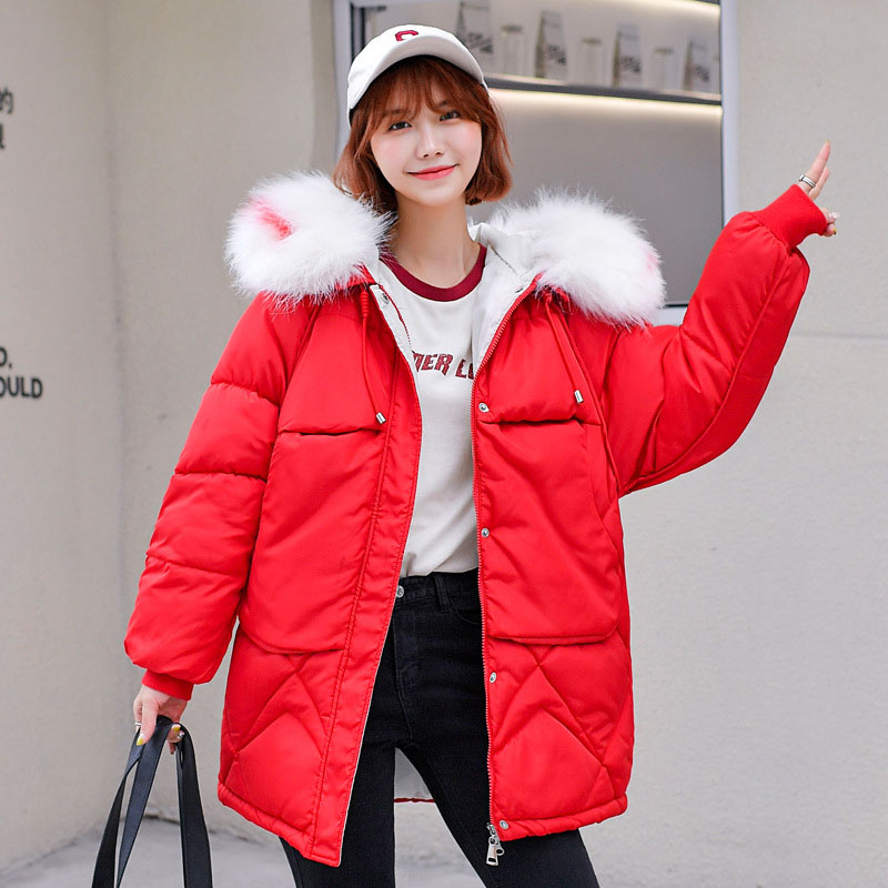 Women Winter Jacket Parkas Mujer Invierno 2019 New Fur Collar Hooded Thick Warm Mid-Length Cotton Padded Quilted Snow Coat(China)
