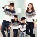 Полосатый толстовка семья одежды одежды для матери отца сына семья установить соответствующий одежда белый серый PRO15023